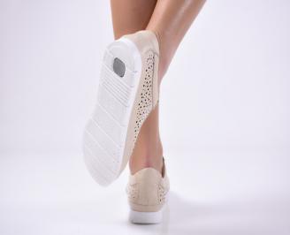 Дамски равни обувки естествена кожа бежови 3
