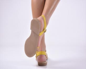 Дамски равни  сандали естествена кожа жълти