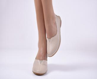 Дамски равни обувки естествена кожа бежови