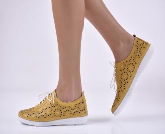 Дамски равни обувки гигант, естествена кожа жълти.