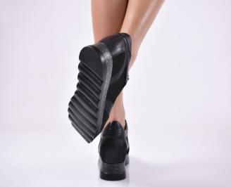 Дамски обувки на платформа естествена кожа черни.