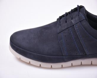 Мъжки ежедневки обувки естествена кожа сини
