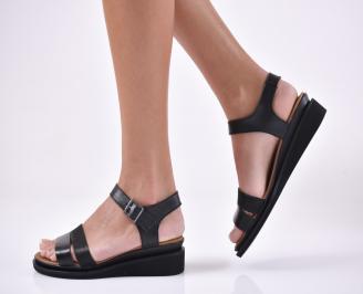 Дамски сандали на платформа естествена кожа черни.