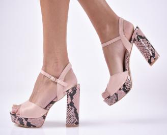 Дамски елегантни сандали велур пудра