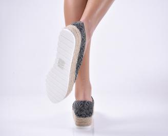 Дамски обувки равни текстил черни
