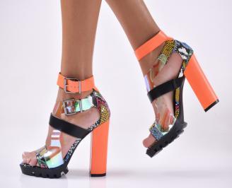 Дамски елегантни сандали  шарени