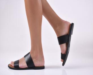 Дамски равни чехли естествена кожа черни.