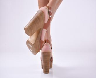Дамски елегантни сандали естествена кожа кафяви.