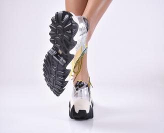 Дамски обувки на платформа текстил шарени 3