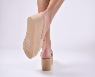 Дамски чехли  на платформа бежави 3