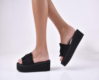 Дамски чехли  на платформа черни