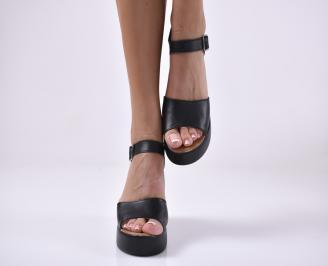 Дамски сандали на платформа естествена кожа черни 3