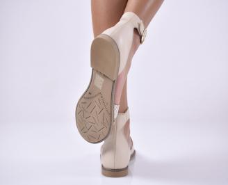 Дамски равни сандали естествена кожа бежави.
