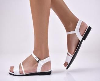 Дамски равни  сандали естествена кожа бели