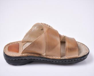 Мъжки чехли естествена кожа бежови