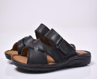 Мъжки чехли естествена кожа черни