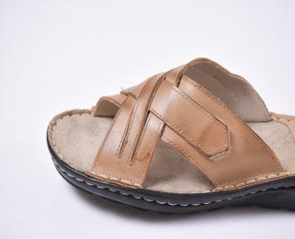 Мъжки чехли естествена кожа бежави