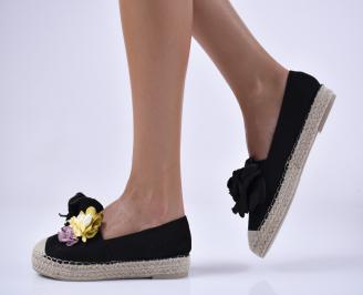 Дамски равни обувки еко велур черни.