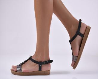 Дамски равни сандали еко кожа сребристи.