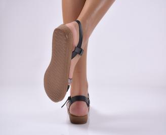 Дамски равни сандали еко кожа черни.