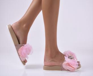 Дамски равни чехли пудра.