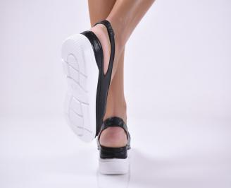 Дамски равни сандали естествена кожа черни. 3