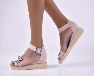 Дамски равни сандали естествена кожа пудра.