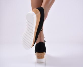 Дамски обувки на платформа черни 3