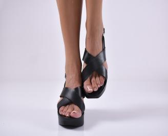 Дамски сандали на платформа  черни