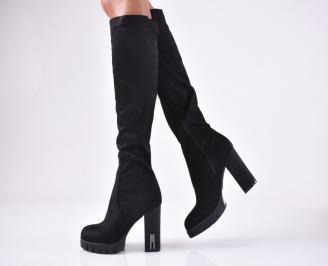 Дамски елегантни ботуши черни