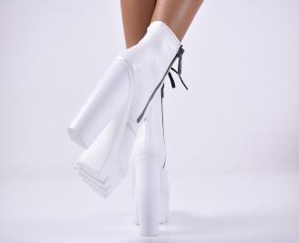 Дамски елегантни  боти  бели 3