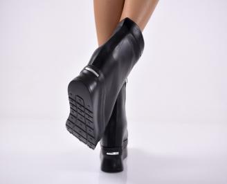 Дамски  боти  на платформа естествена кожа черни 3