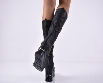 Дамски  ботуши  на платформа естествена кожа черни 3
