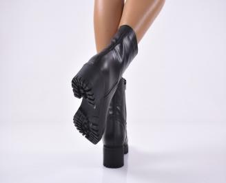 Дамски ежедневни  боти  естествена кожа черни