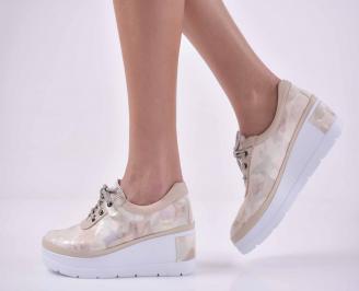 Дамски  ежедневни обувки на платфорна естествена кожа бежови EOBUVKIBG
