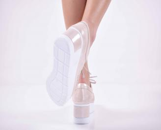 Дамски  ежедневни обувки на платфорна естествена кожа пудра EOBUVKIBG