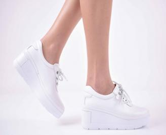 Дамски  ежедневни обувки на платфорна естествена кожа бели EOBUVKIBG
