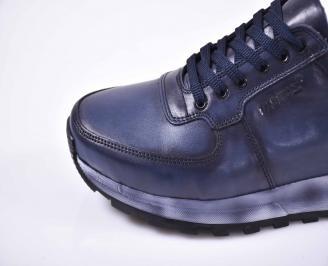 Мъжки спортно елегантни обувки естествена кожа сини EOBUVKIBG