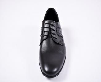 Мъжки официални обувки естествена кожа черни EOBUVKIBG