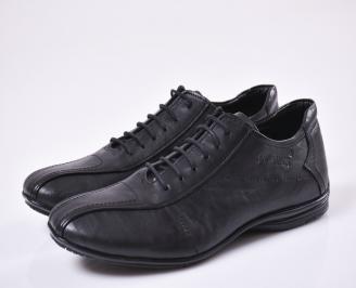 Мъжки елегантни обувки естествена кожа черни EOBUVKIBG