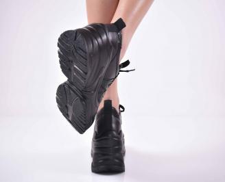 Дамски обувки на платформа естествена кожа черни EOBUVKIBG