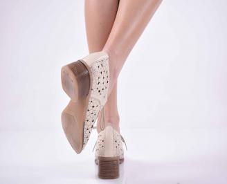 Дамски ежедневни обувки естествена кожа  стабилен ток бежови  EOBUVKIBG