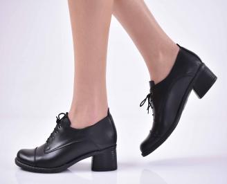 Дамски ежедневни обувки естествена кожа стабилен ток черени EOBUVKIBG