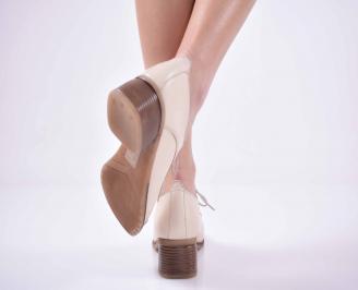 Дамски ежедневни обувки естествена кожа стабилен ток бежави EOBUVKIBG