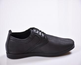 Мъжки ежедневни обувки естествена кожа черни EOBUVKIBG