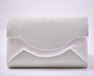 Елегантна абитуриентска чанта ситен брокат бяла  EOBUVKIBG