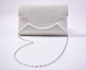 Елегантна абитуриентска чанта ситен брокат бяла  EOBUVKIBG 3