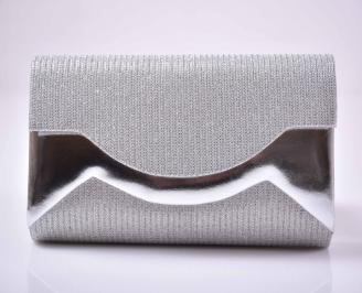 Елегантна абитуриентска чанта ситен брокат бяла сребриста  EOBUVKIBG