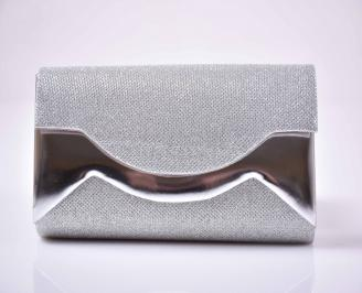 Елегантна абитуриентска чанта ситен брокат сребриста  EOBUVKIBG