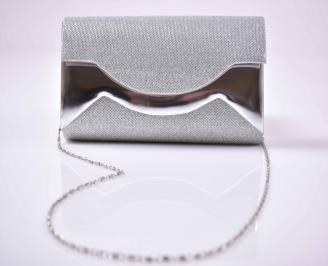Елегантна абитуриентска чанта ситен брокат сребриста  EOBUVKIBG 3